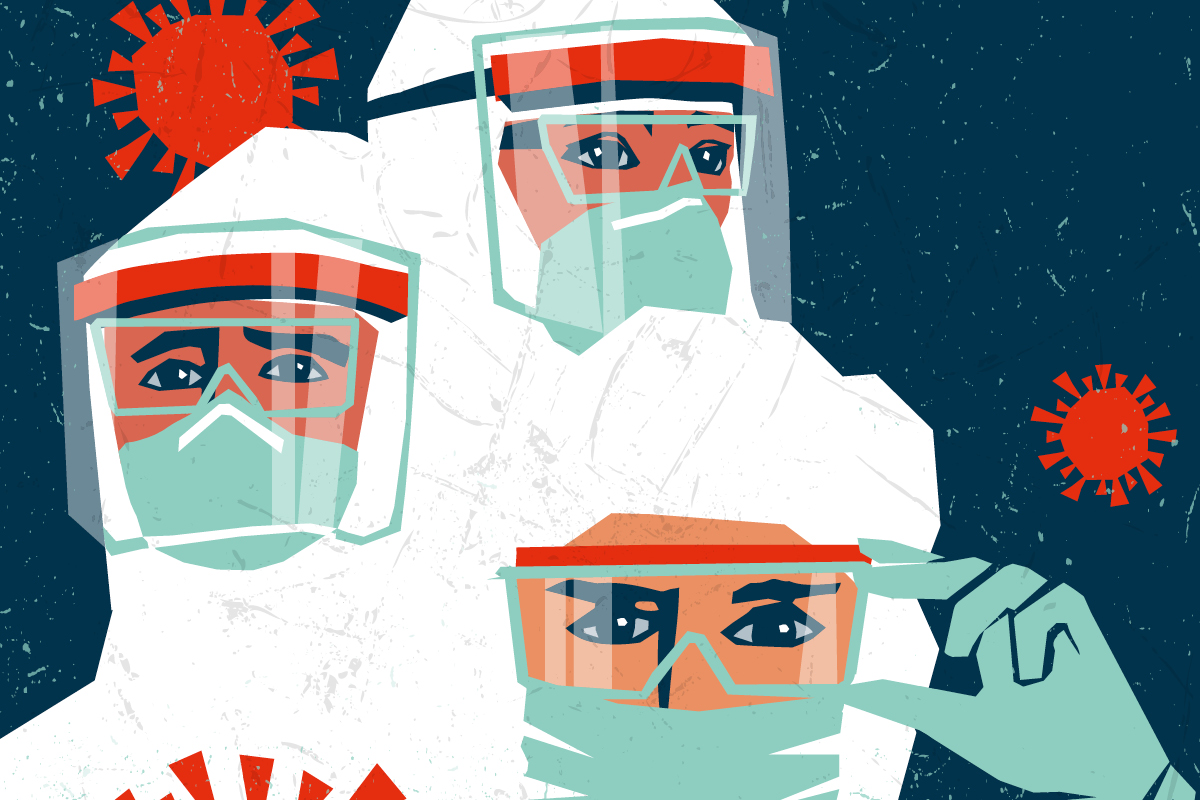An illustration shows three people all in white biohazard suits with masks and goggles. There are two red coronavirus illustrations in the air around them.